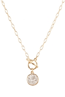 A1-2-3-FS3208WGRD - DRUZY LINK ROUND PENDANT NECKLACE - MATTE GOLD SILVER/6PCS