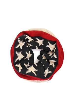 S6-4-5-AFST10015AMF PATRIOTIC PRINT AMERICAN FLAG INFINITY NECKWARMER STARS AND STRIPES RED WHITE AND BLUE KNITTED/6PCS