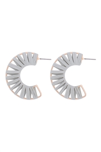 S1-5-4-GSE2186DMOSS - C SHAPE WRAP EARRINGS - GRAY/6PCS
