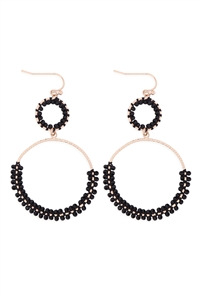 S1-4-4-GSE2303GDBK - BEADED WRAP TEXTURE LINK HOOP EARRINGS - BLACK/6PCS