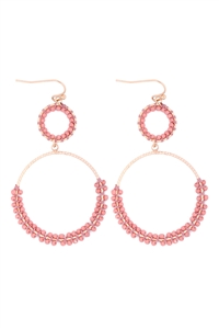S1-4-4-GSE2303GDBRS - BEADED WRAP TEXTURE LINK HOOP EARRINGS - ROSE/6PCS