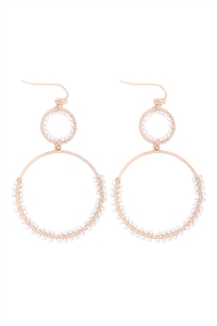 S1-4-4-GSE2303GDIV - BEADED WRAP TEXTURE LINK HOOP EARRINGS - IVORY/6PCS