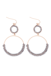 S1-5-3-GSE2303GDLGY - BEADED WRAP TEXTURE LINK HOOP EARRINGS - LIGHT GRAY/6PCS