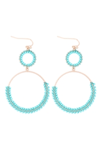 S1-4-4-GSE2303GDTQ - BEADED WRAP TEXTURE LINK HOOP EARRINGS - TURQUOISE/6PCS