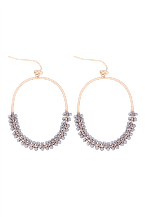 S1-6-4-GSE2407GDLGY - HOOP TEXTURED HALF BEADED EARRINGS - GOLD LIGHT GRAY/6PCS
