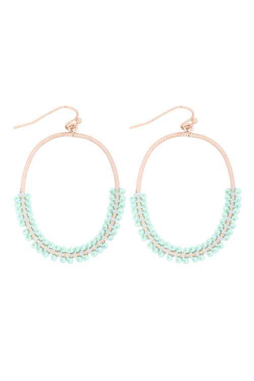 S1-6-4-GSE2407GDMNT - HOOP TEXTURED HALF BEADED EARRINGS - GOLD MINT/6PCS