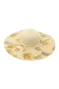 S28-2-4-H3016BEIGE - SUN FLOWER PRINT WOMEN'S SUMMER HAT - BEIGE/6PCS