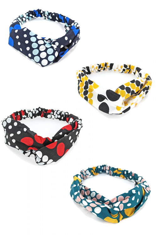 S1-4-1-LBH357 POLKA DOT MULTI COLOR FASHION HEADBANDS/12PCS