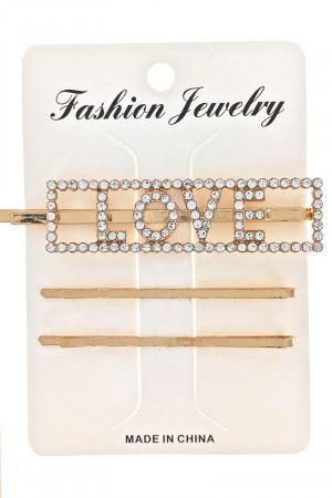 S1-2-1-LBH386 3 ON A CARD GOLD LOVE FASHION BOBBY HAIRPIN SET/12SETS