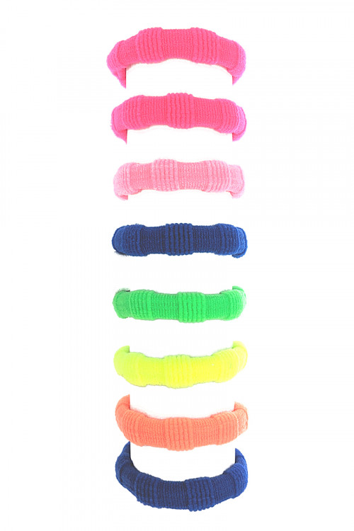 S1-4-3-LBH421 ASSORTED MULTI COLOR 8PCS ON A CARD HAIR SCRUNCHIES HAIR TIES SET/12SETS
