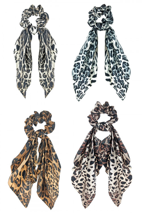 S1-6-1-LBH477 ASSORTED COLOR ANIMAL PRINT FASHION SCRUNCHIE SCARF/12PCS