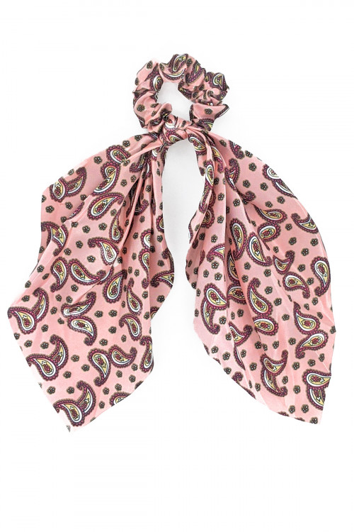 S1-5-3-H481-ASSORTED COLOR PRINT HAIR SCARF CRUNCHIER BY THE DZ /12PCS