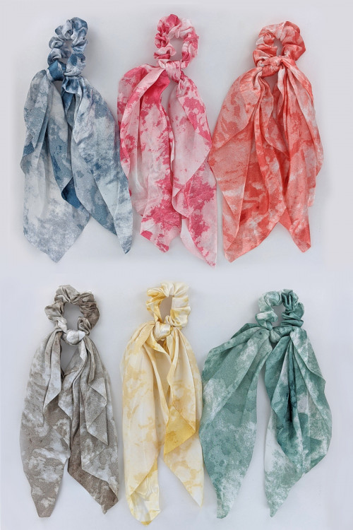 S1-5-4-H486-ASSORTED COLOR TIE DYE HAIR SCARF CRUNCHIER BY THE DZ /12PCS