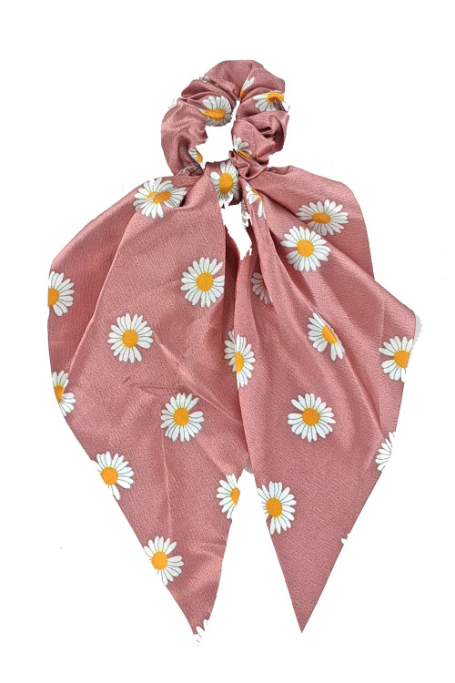 S1-4-4-H496-ASSORTED COLOR SUN FLOWER PRINT HAIR SCARF CRUNCHIER BY THE DZ /12PCS