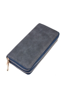 S28-9-1-H6488NV - DOUBLE ZIPPER FASHION WALLET NAVY/6PCS