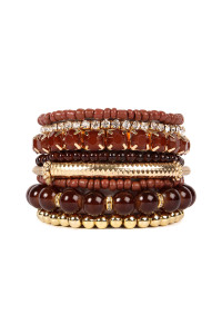 S7-6-3-AHDB1286BR BROWN MULTICOLOR STRETCH BRACELET/6PCS