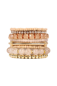 SA4-1-3-AHDB1286LBR LIGHT BROWN MULTICOLOR STRETCH BRACELET/6PCS