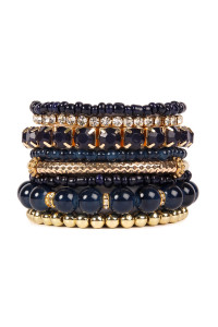 SA4-1-4-AHDB1286NV NAVY MULTICOLOR STRETCH BRACELET/6PCS