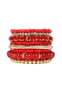 SA4-1-4-AHDB1286RD RED MULTICOLOR STRETCH BRACELET/6PCS