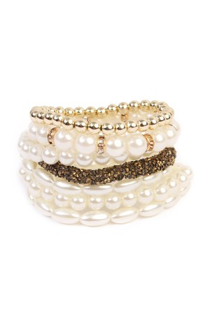 S7-4-3-AHDB1564G GOLD BEAD STRETCH BRACELET/6PCS