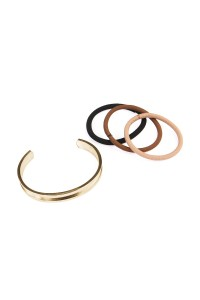 S7-4-3-AHDB1568GD GOLD HAIR TIE BANGLE BRACELET/6PCS