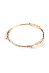S7-4-3-AHDB1574G GOLD WIRED PEARL BRACELET/6PCS