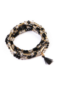 S5-6-4-AHDB1581BK BLACK TASSEL BEADED BRACELET/6PCS