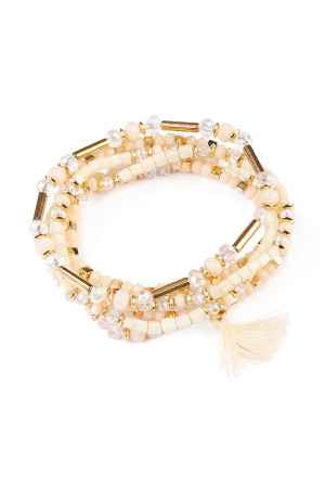 S6-5-4-AHDB1581NA NATURAL TASSEL BEADED BRACELET/6PCS