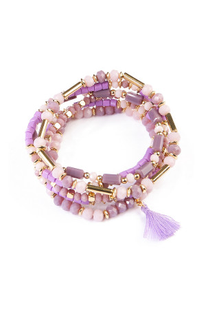S4-5-2-AHDB1581PU PURPLE TASSEL BEADED BRACELET/6PCS