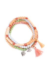 S7-4-3-AHDB1605CO CORAL TASSEL BEADED STRETCH BRACELET/6PCS