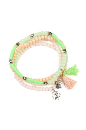 S7-4-3-AHDB1605GR GREEN TASSEL BEADED STRETCH BRACELET/6PCS