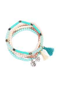 S7-4-3-AHDB1605TQ TURQUOISE TASSEL BEADED STRETCH BRACELET/6PCS