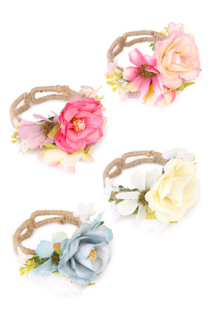 S7-5-1-AHDB1712MIX ASSORTED OPEN ROSE CUFF BRACELET/6PCS