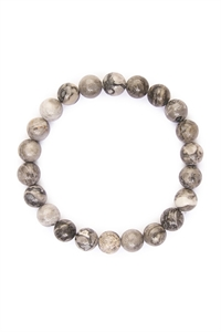 S7-4-2-AHDB1732 BLACK WHITE 8mm NATURAL BEAD STRETCH BRACELET/6PCS