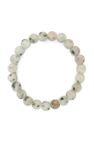 S4-4-2AHDB1736 GREY 8mm NATURAL BEAD STRETCH BRACELET/6PCS
