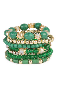 SA4-3-2-AHDB1802GR GREEN MULTIBEAD STACKABLE BRACELET/6PCS