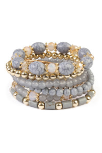 S5-5-2-AHDB1802GY GRAY MULTIBEAD STACKABLE BRACELET/6PCS