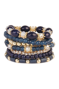 S4-4-4-AHDB1802NV NAVY MULTIBEAD STACKABLE BRACELET/6PCS