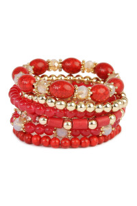 S4-4-4-AHDB1802RD RED MULTIBEAD STACKABLE BRACELET/6PCS