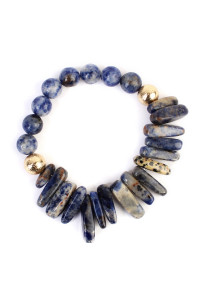 S5-5-4-AHDB1861BL BLUE TWO SIDE NATURAL STONE BRACELET/6PCS