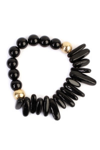 S5-5-4-AHDB1861JT JETBLACK TWO SIDE NATURAL STONE BRACELET/6PCS