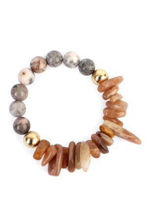 S5-5-4-AHDB1861LBR LIGHT BROWN TWO SIDE NATURAL STONE BRACELET/6PCS