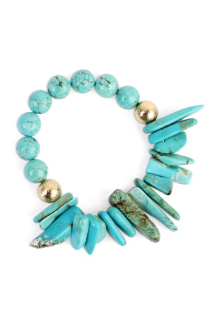 S7-4-2-AHDB1861TQ TURQUOISE TWO SIDE NATURAL STONE BRACELET/6PCS