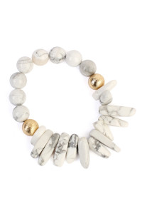S5-5-4-AHDB1861WT WHITE TWO SIDE NATURAL STONE BRACELET/6PCS