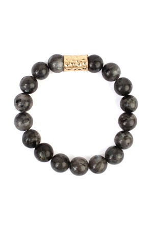 S7-5-2-AHDB1862BK BLACK NATURAL STONE BRACELET/6PCS