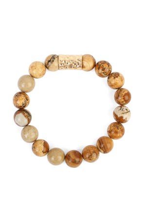 S6-4-2-AHDB1862BR BROWN NATURAL STONE BRACELET/6PCS