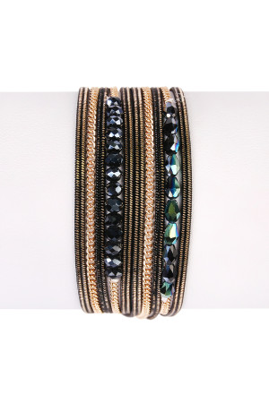 S6-5-4-AHDB1923BK BLACK MULTILAYER BRACELET/6PCS