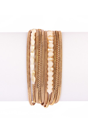 S6-5-4-AHDB1923LBR LIGHT BROWN MULTILAYER BRACELET/6PCS