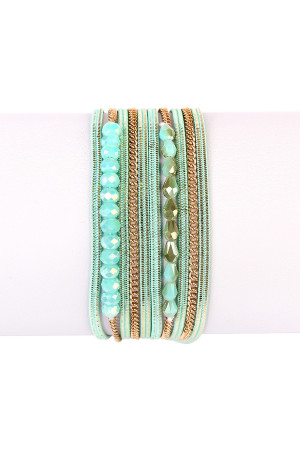 S7-6-3-AHDB1923MN MINT MULTILAYER BRACELET/6PCS