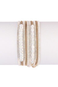 S7-5-3-AHDB1923WH WHITE MULTILAYER BRACELET/6PCS